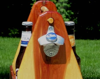 Beer tote, caddy, Father's day gift idea, bottle opener, magnetic bottle cap catcher, one-of-a-kind ready to ship just for him dad brother
