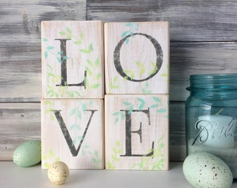 Valentine Decor, LOVE Blocks, white wood, reclaimed, farmhouse decor, rustic, wedding decor