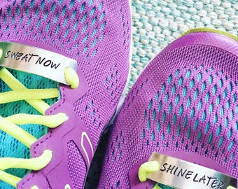 Sweat Now Shine Later, Running Mates© Shoe Tags, Motivational Shoelace Tags, Runner Gift, Fitness Gear, Running Gear, Running Jewelry, Fitne