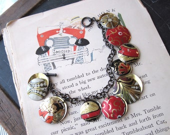 Red, Black, White Asian Tea Tin Charm Bracelet, Vintage Tins, Industrial Chic,  10th Anniversary