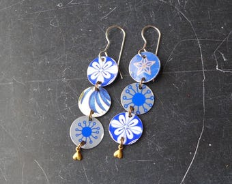 The Blues Have It, Triple Tin Disc Earrings, Light Weight and Fun, Sterling Ear Wires, 10th Anniversary
