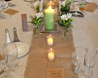 Set of Twelve Burlap Table Runners 12x108, 12x120 or 12x140 Rustic Wedding or Special Occasion Decor