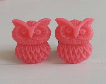 Pink Owl Plugs for Gauged Ears Sizes 00g, 0G, 2G, 4G , 6G, 4mm, 5mm, 6mm, 8mm, 10mm, Also Available for Pierced Ears