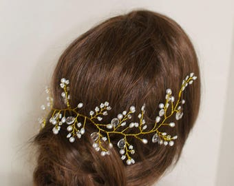 Bridal Hair Vine Wedding Hair Vine Boho Bridal Pearls Crystals Hair Vine Gold Bridal Head Piece Gold Hair Vine Vintage Bridal Hair Bohemian