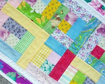 Quilted Easter Table Runner, Mat or Topper, Pastel Patchwork, Colorful and Fun Easter Table Accent