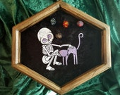 A Skeleton's Best Friend Embroidered Dice Tray