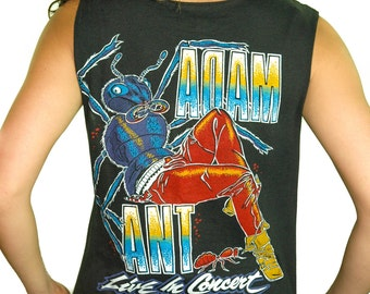 Vintage ADAM ANT shirt 80s Band Tee Concert shirt 80s tee Goth Punk Metal Industrial David Bowie Marilyn Manson The Cure The Smiths Black