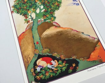 Persian painting / persian miniature Young man hudding under a tree/LIMITED GICLEE PRINT