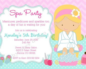 Spa Party Invitation invite spa birthday party invitation invite sleepover spa party diy printable CHOOSE YOUR GIRL