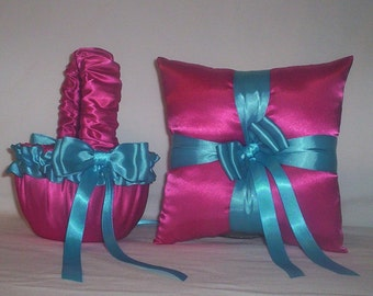 Fuchsia Hot Pink Satin With Turquoise Ribbon Trim Flower Girl Basket And Ring Bearer Pillow