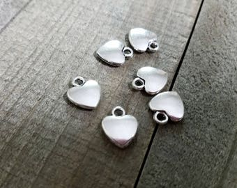 Heart Charms Silver Heart Charms Bulk Charms Silver Charms Wholesale Charms 10pcs Heart Pendants Valentines Day Love Charms