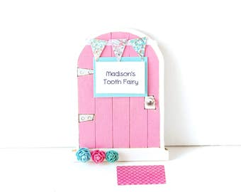 Tooth Fairy Door Girls Tooth Fairy Gift Personalized Tooth Fairy Garden Door Tooth Fairy Gift for Girls Wooden Miniature Fairy Door