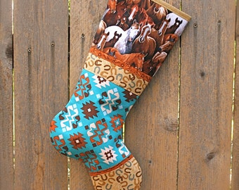 Horse Christmas Stocking ... Southwestern Christmas Stocking ...  Wild Horses Christmas Stocking ... Cowgirl Christmas Stocking