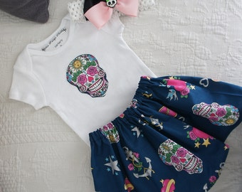 Olivia Paige - Tattoo Sugar skull Anchor Swallows punk rock rockabilly  bodysuit