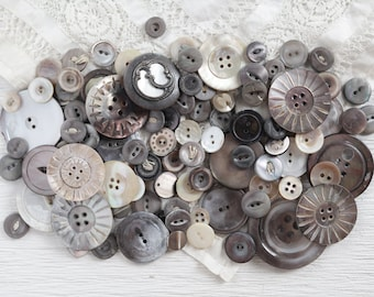 Shabby Vintage Shell Buttons and Carved Fancies, Weathered Smoky Mother of Pearl - Lot of 100