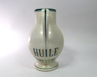 Large Antique French Porcelain Pitcher for Oil from an Old Pharmacy