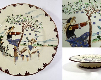 French Antique Creil et Montereau Hand Decorated Footed Plate Richard Froment 'PARISIEN' c. 1900