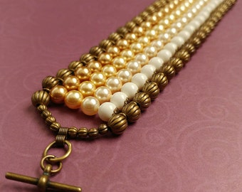 Ivory & Gold Swarovski Crystal Pearl Beaded Cuff Bracelet With Antiqued Gold Plated Brass Accents