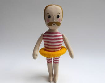 Gentleman swimmer, cloth doll in swimming costume, doll with moustache, male doll, swimming art doll, gifts for him, hipster
