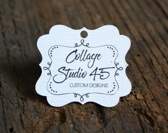 """50+ tags - 1.25""""x 1.5"""" - Fancy Cut  Customized Small Price Tags Jewelry Hang Tags Labels MT06-W"""