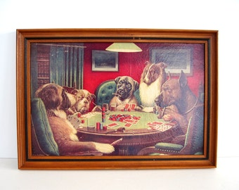 Vintage Dogs Playing Poker Bold Bluff Wall Picture Wood Frame Cigars CM Coolidge Classic Bar Decor Man Cave Gift