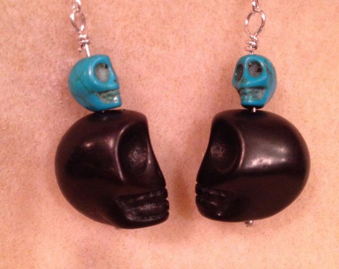 Black & Candy Color Skull Sterling Silver Dangle Drop Earrings - Pretty Día de Muertos Sugar Skull Earrings