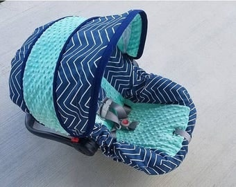 SALE Navy Chevron and mint minky baby car seat cover - Infant car seat cover - Custom order