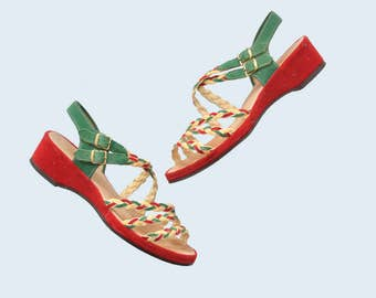 1940s Velvet Wedge Heels size 6