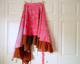 Vintage SILK two layered India wrap Skirt