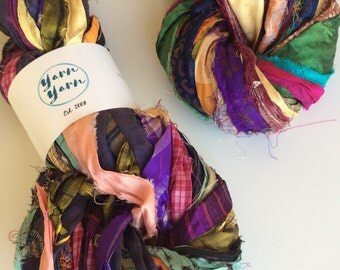 Silk sari ribbon, patterned multicoloured sari silk, jewelry making ribbon, knitting ribbon, ethical yarn, recycled yarn. 100g