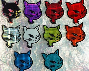90s Winking Kitty Vending Machine Hologram Prismatic Vintage Stickers