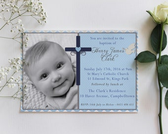 Baptism invitation, boy baptism invitation, girl baptism invitation, blue baptism invitation, digital baptism invitation