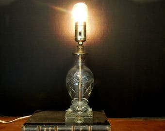 Vintage Crystal Glass Lamp / Mid Century Cut Glass Lamp / Glass Base / Boudoir Lamp