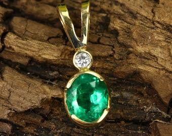 1.35tcw 18K Colombian Emerald Oval & Diamond Necklace, Emerald Pendant Oval, Emerald Oval, Natural Emerald, Emerald Pendant, Mays BirthStone