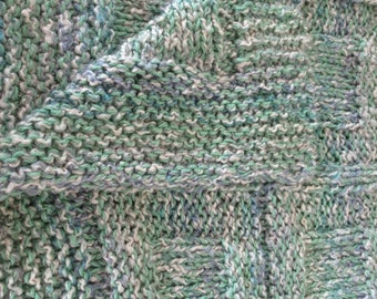 Teen to Adult Knitted Afghan Blanket - Homespun Mint Green and Slate Blue