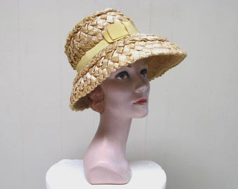 Vintage 1960s Hat / 60s Natural Cello Straw I MAGNIN Sun Hat