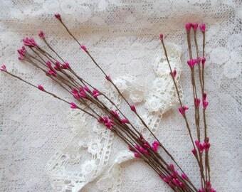 Pip Berry Stems, Scrapbook Embellishment, Card Making, Mixed Media, Dark Pink, Flower Stamen