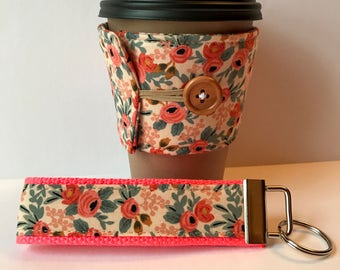 Floral Fabric Coffee Cozy and Wristlet Key Fob, Coral Floral Set or Sold Individually