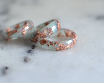 Stacking rings, aqua ring copper flakes, eco resin, sea foam green, minimalist jewelry, mint ring set of rings