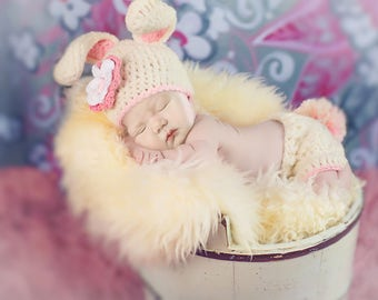 READY TO SHIP, Flower Bunny Easter Set, Bunny Hat, Diaper with Tail, Rose Pink White Flower Hat, Bonnet, Baby Newborn Photo Prop, Girl
