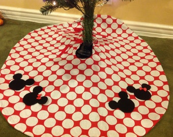 Boutique Minnie Mickey Mouse Christmas Tree Skirt Red Disney Dot NEW