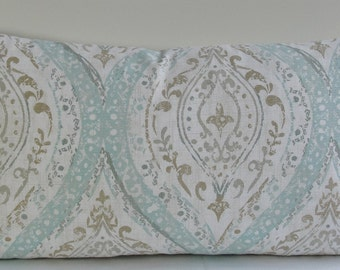 Spa blue teal tan large Ogee designer cotton duck pillow cover, Decorative Both Sides pillow cover throw pillow weathered aqua ikat