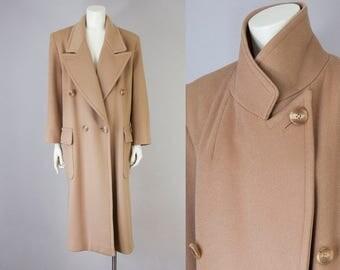 80s Vintage Perry Ellis Long Wool Coat. Oversized Winter Jacket (M)