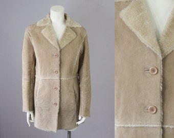 90s Vintage Tan Suede Faux Shearling Coat. Winter Jacket (M)