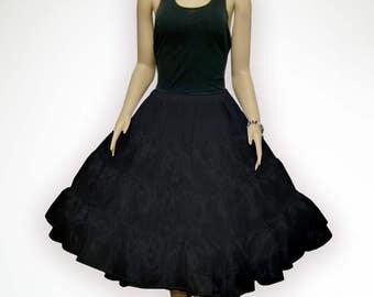 """Plus Size L-XL Black 26"""" 50s Retro Underskirt Swing VTG Petticoat Fancy Net Skirt Rockabilly Full Vol"""