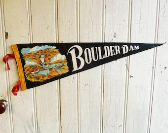 Vintage Boulder Dam Pennant - Hoover Dam Souvenir Pennant - Mid-Century 1940s - Vintage Felt Pennant - Hard to Find - Arizona, Nevada