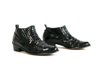 Vintage 1980's Stacy Adams Black Snakeskin Ankle Boots Country Western Unisex Adults Men's 9 Women's 10 1/2