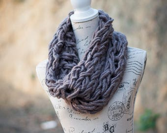 Chunky Arm Knit Cowl - Taupe Pure Wool
