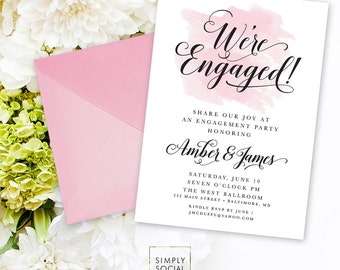 Engagement Party Invitation - Blush Pink Watercolor Classy Black and White Calligraphy Typography We're Engaged Printable