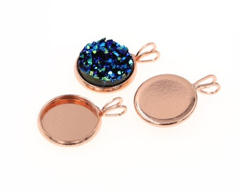 10pcs of 12mm Rose Gold Tone Charm Drop Pendant Tray Bezel Blanks Settings, Made with Brass